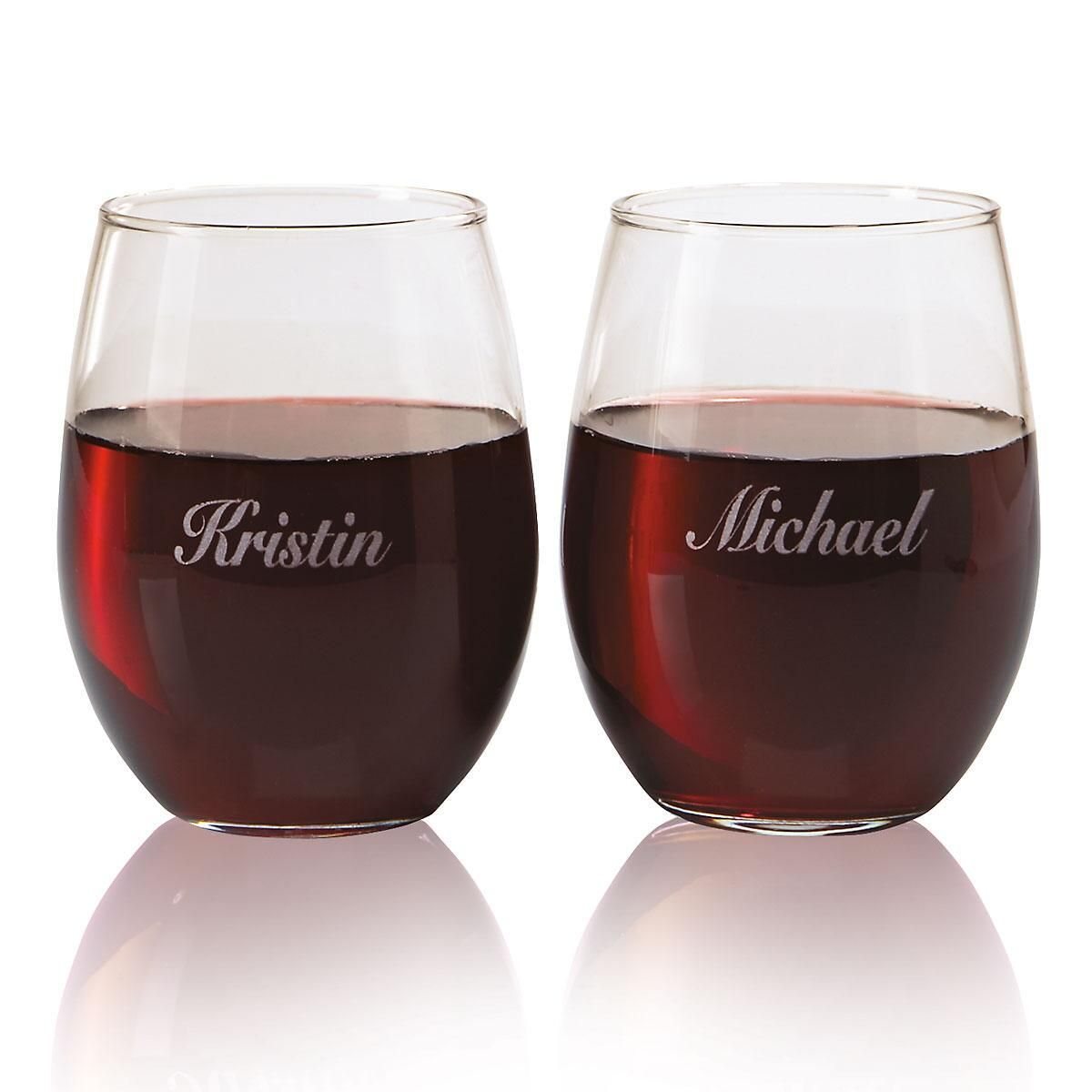Stemless Engraved Wine Glass