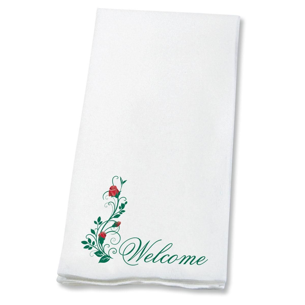 Welcome Red Roses Hand Towels