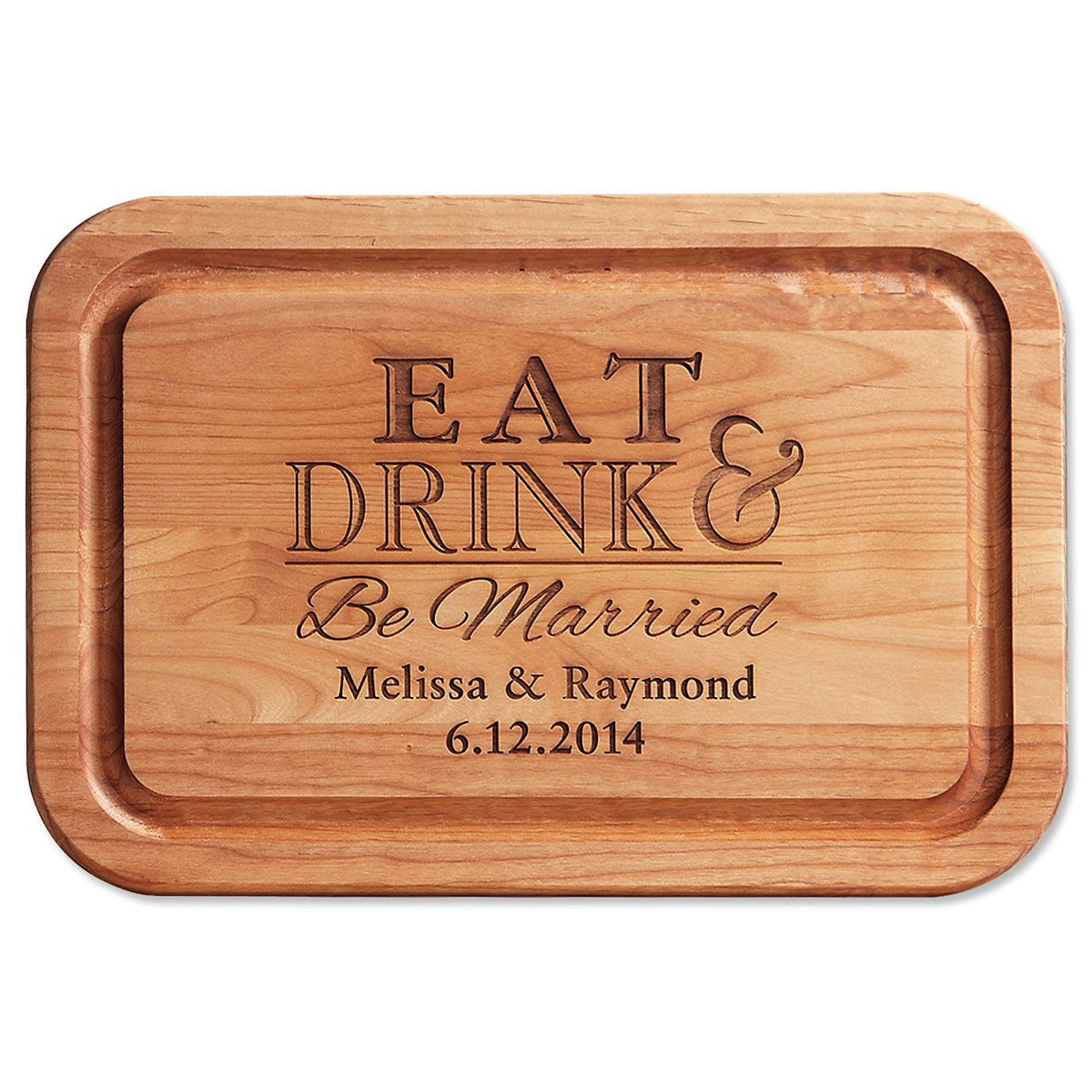 Eat, Drink, Be Married Engraved Cutting Board