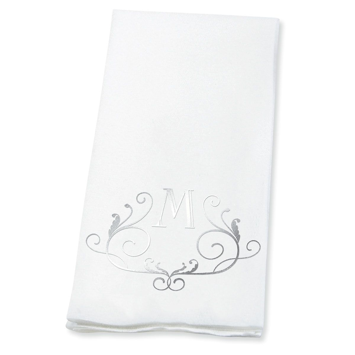Personalized Scroll Initial Foil-Stamped Hand Towels