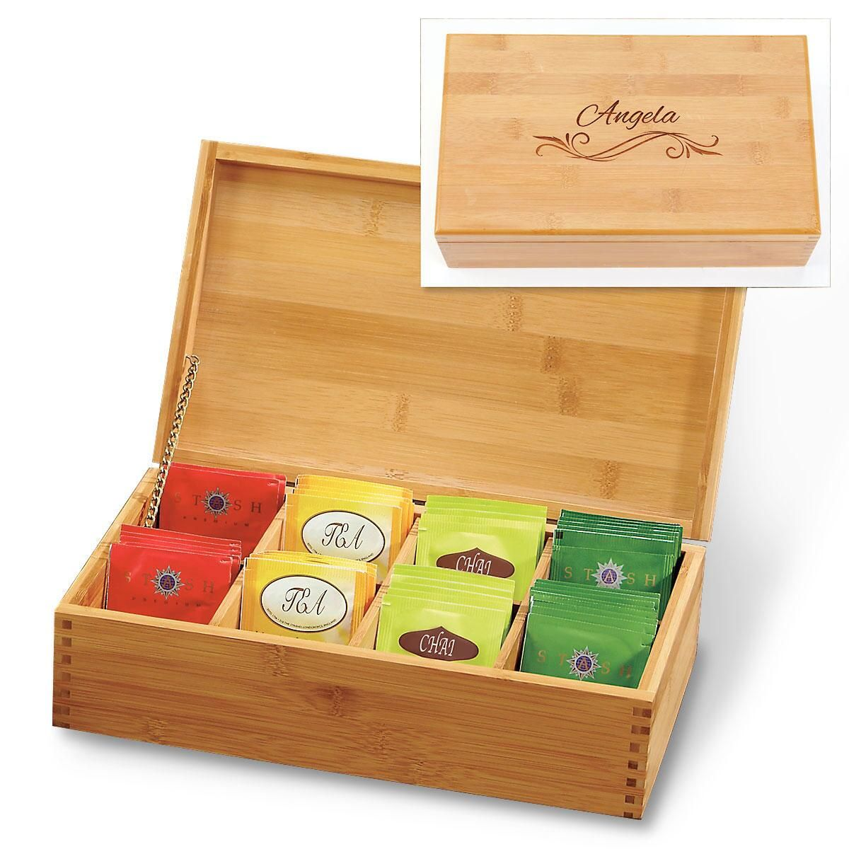 Bamboo Custom Tea Box with Flourish
