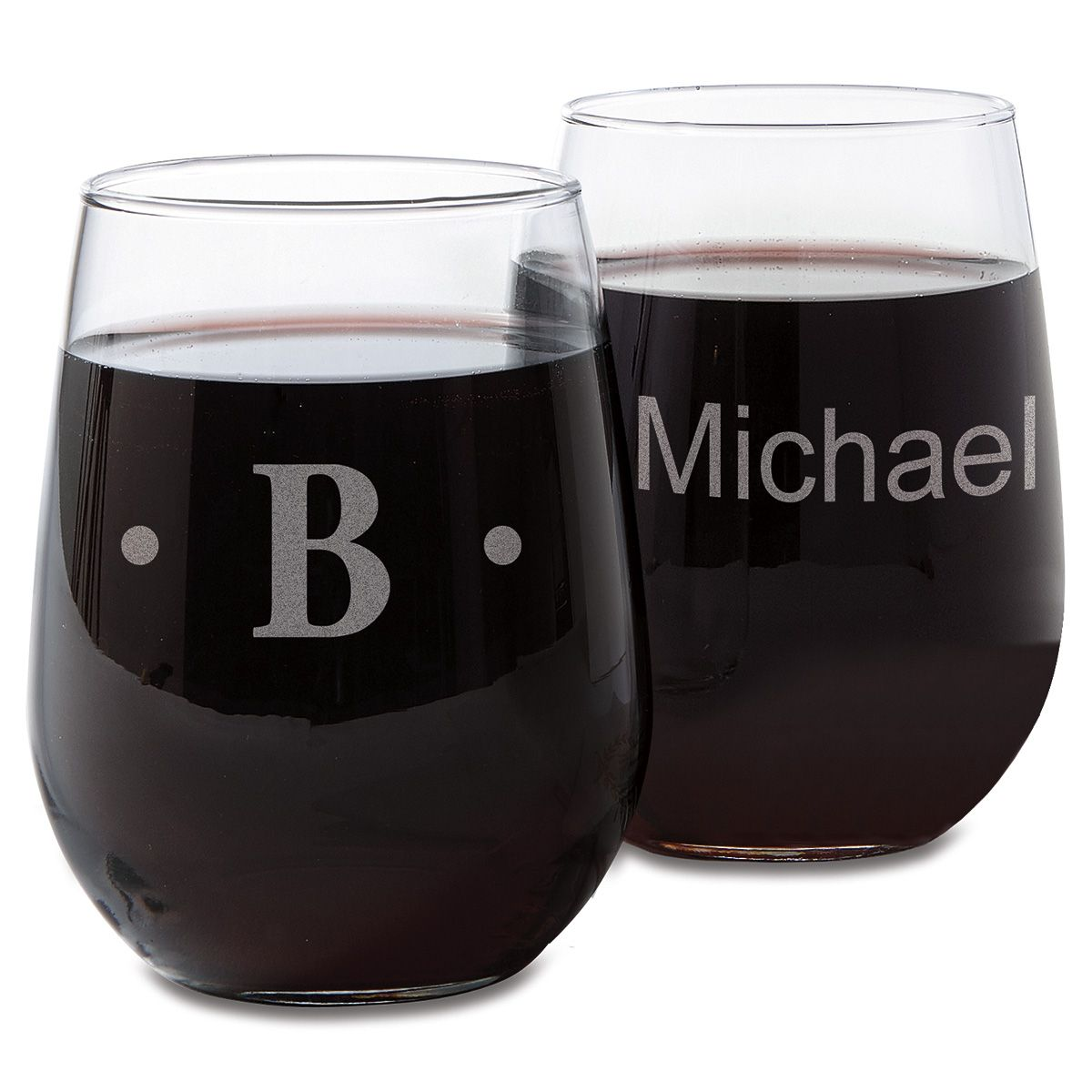 Personalized Stemless Engraved Wine Glasses
