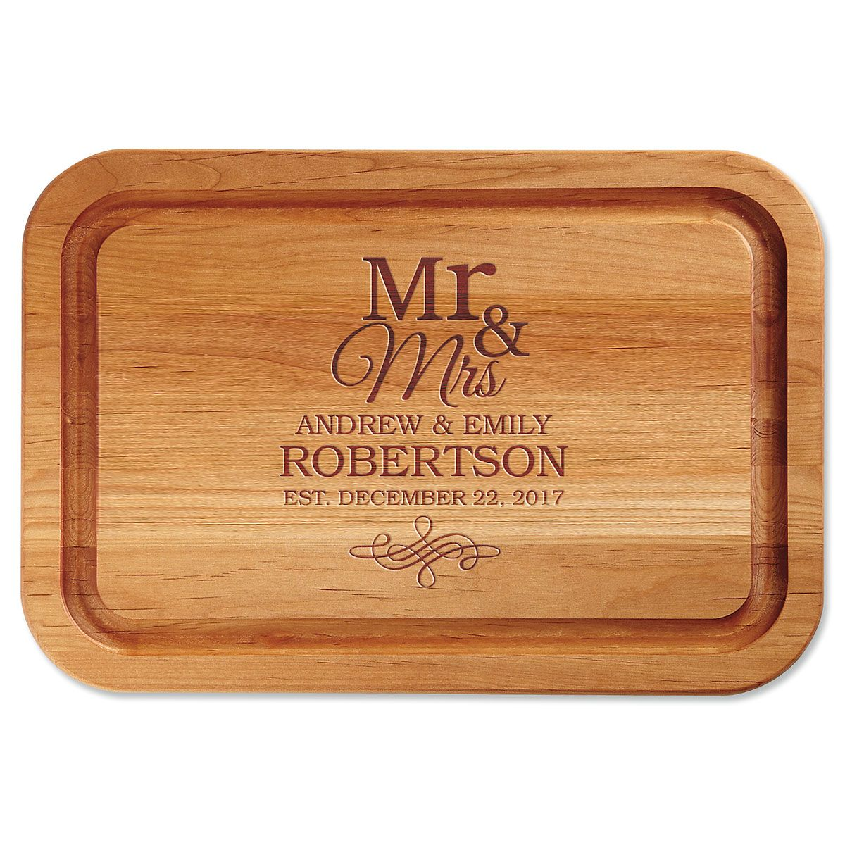 Mr. & Mrs. Engraved Alder Wood Cutting Board