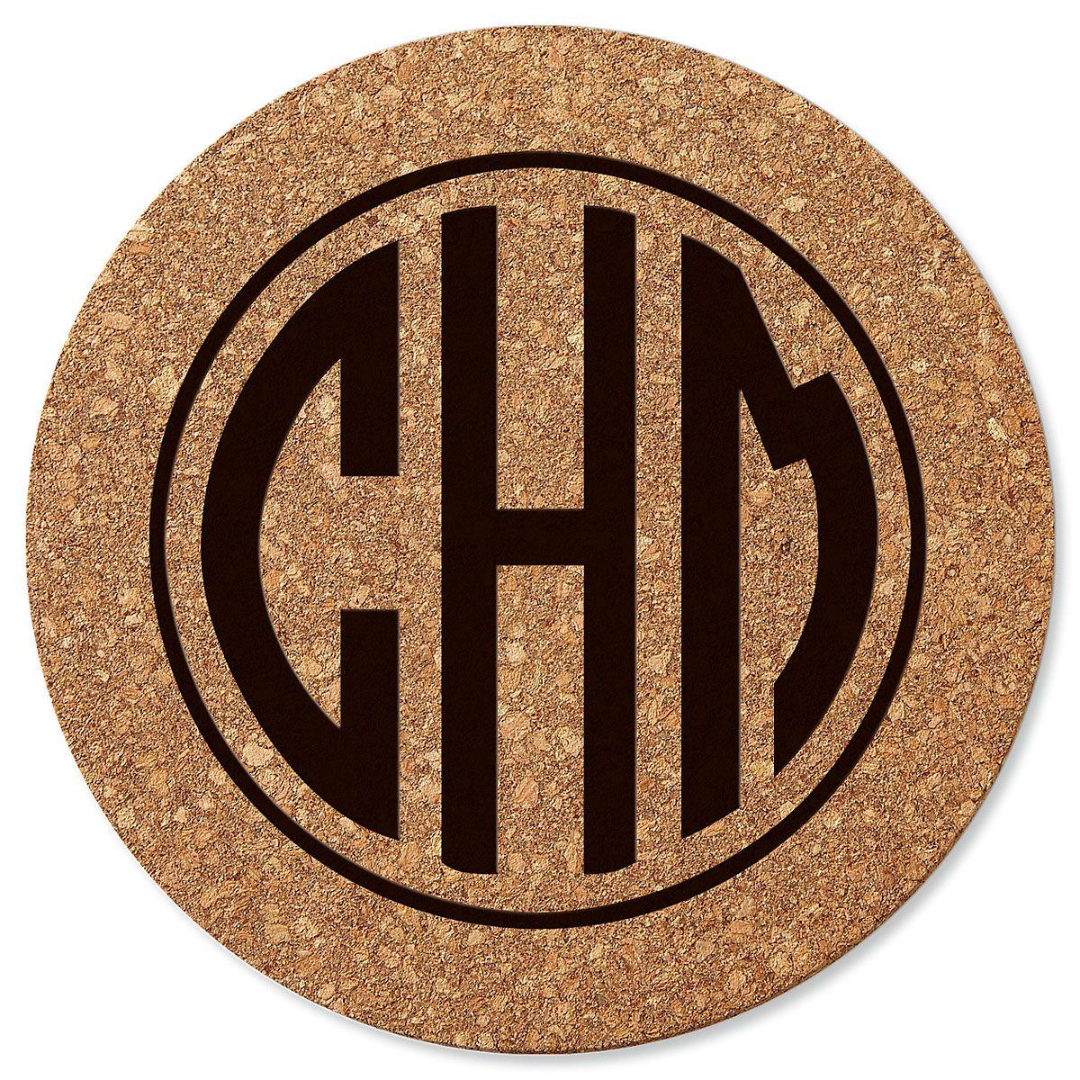 Circle Monogram Round Cork Trivet