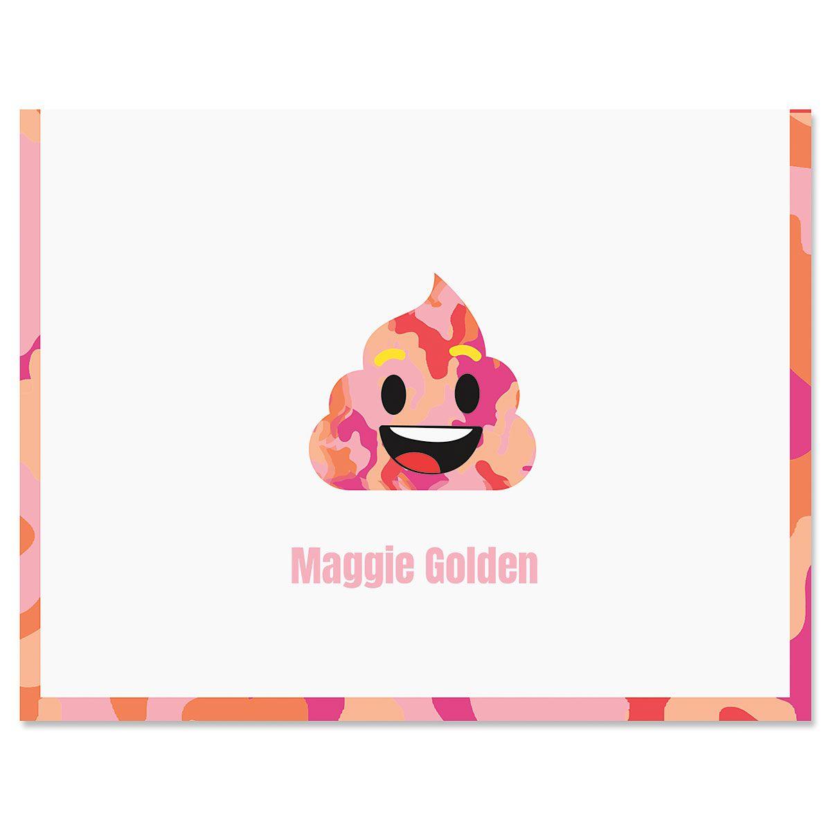 Pink Camo Poop Emoji Note Cards