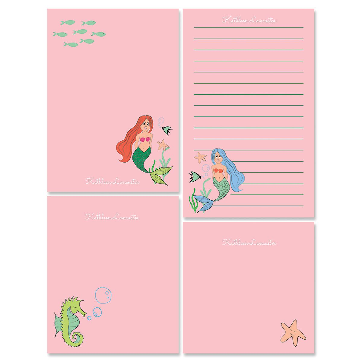 Pink Mermaid Memo Pad Set