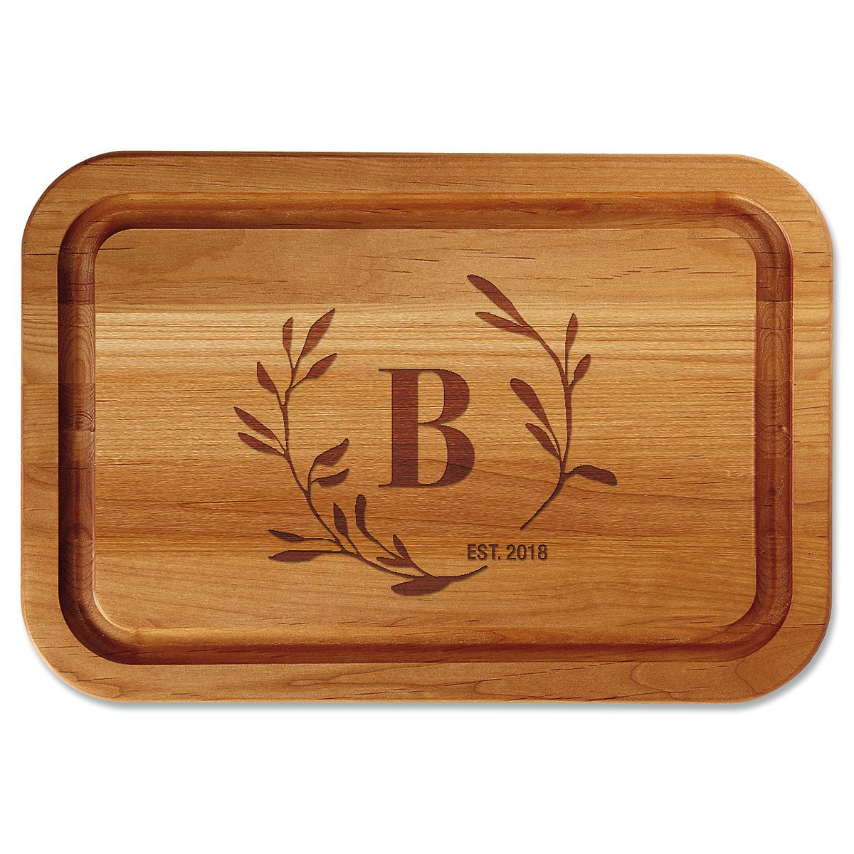 Circle Laurel Engraved Alder Cutting Board