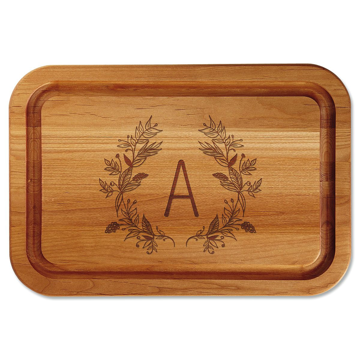 Floral Laurel Initial Engraved Alder Wood Cutting Board