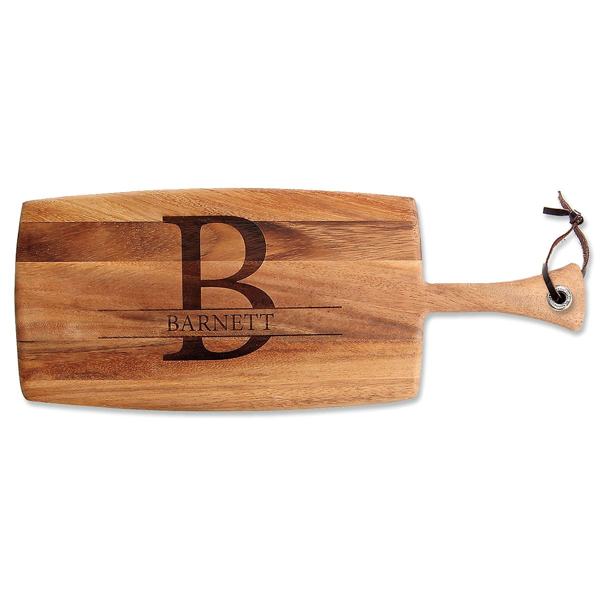 Initial & Name Engraved Acacia Wood Paddle Cutting Board