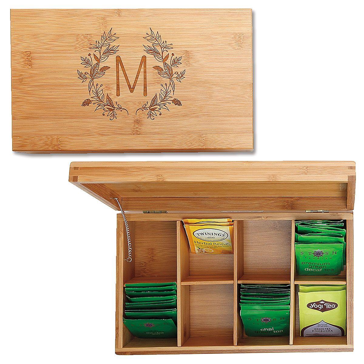 Bamboo Custom Floral Laurel Tea Box