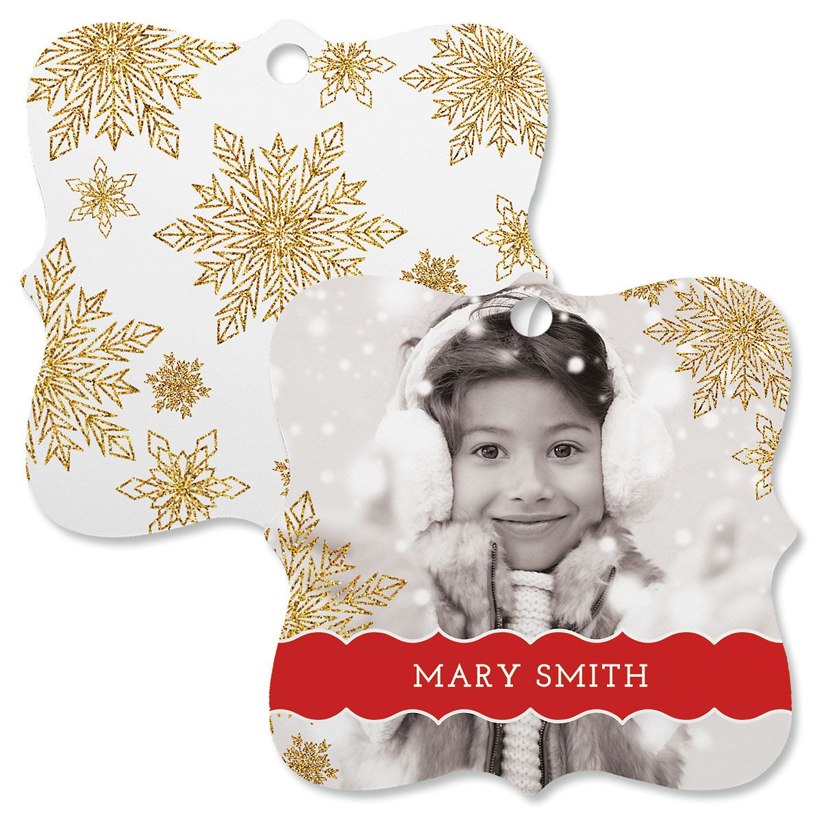 Glitter Snowflake Custom Photo Square Ornament