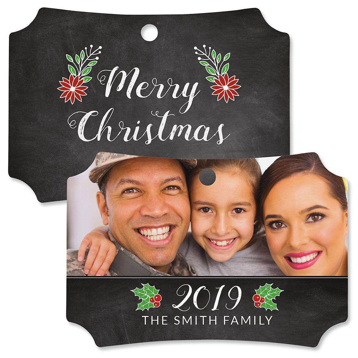 Merry Chalk Custom Photo Deluxe Ornament