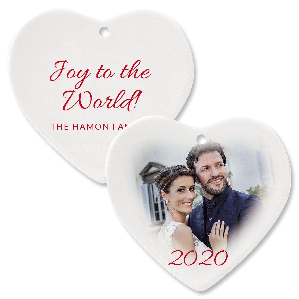 Joy Custom Photo Heart Ornament