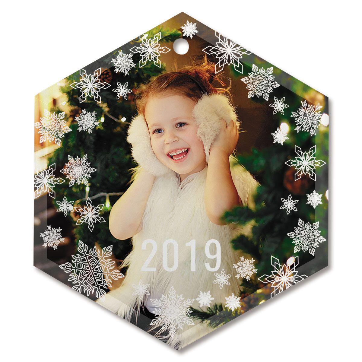 Snowflake Photo Custom Glass Hexagon Ornament