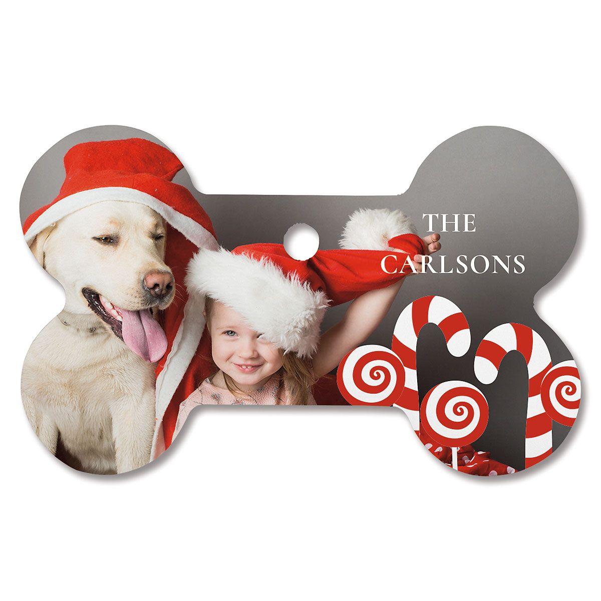 Candy Cane Custom Photo Bone Ornament