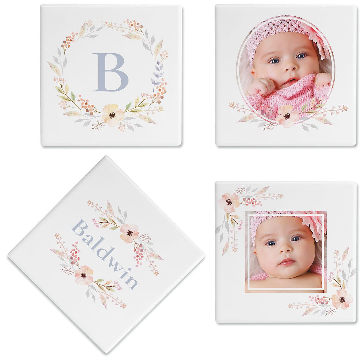 Floral Frame Photo Custom Coasters