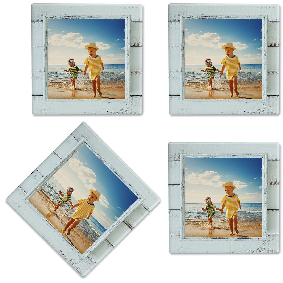Rustic Blue Shiplap Frame Photo Custom Coasters