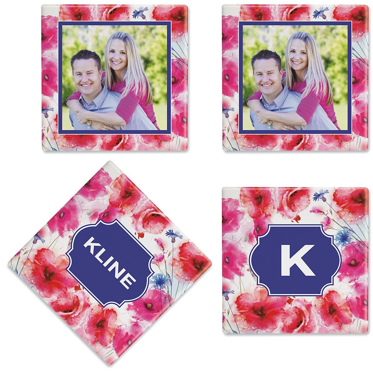 Watercolor Floral Photo Custom Coasters