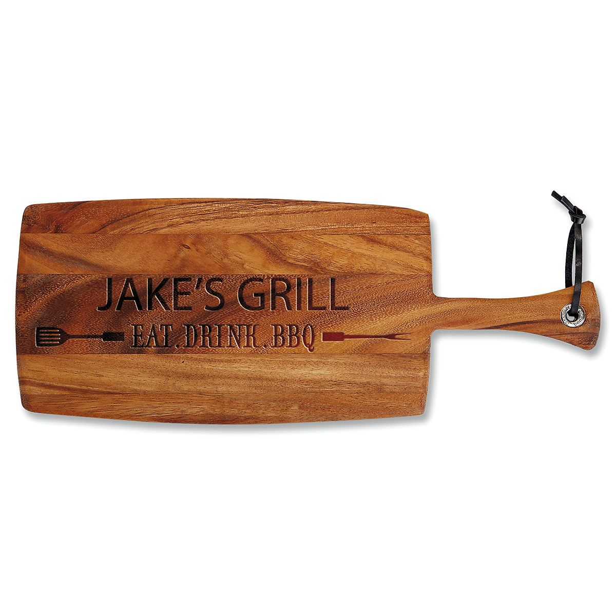 Eat, Drink, BBQ Engraved Acacia Wood Paddle Cutting Board
