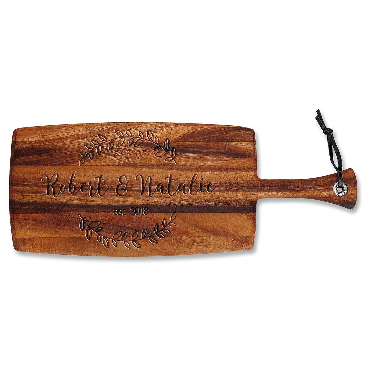 Wreath Engraved Acacia Wood Paddle Cutting Board