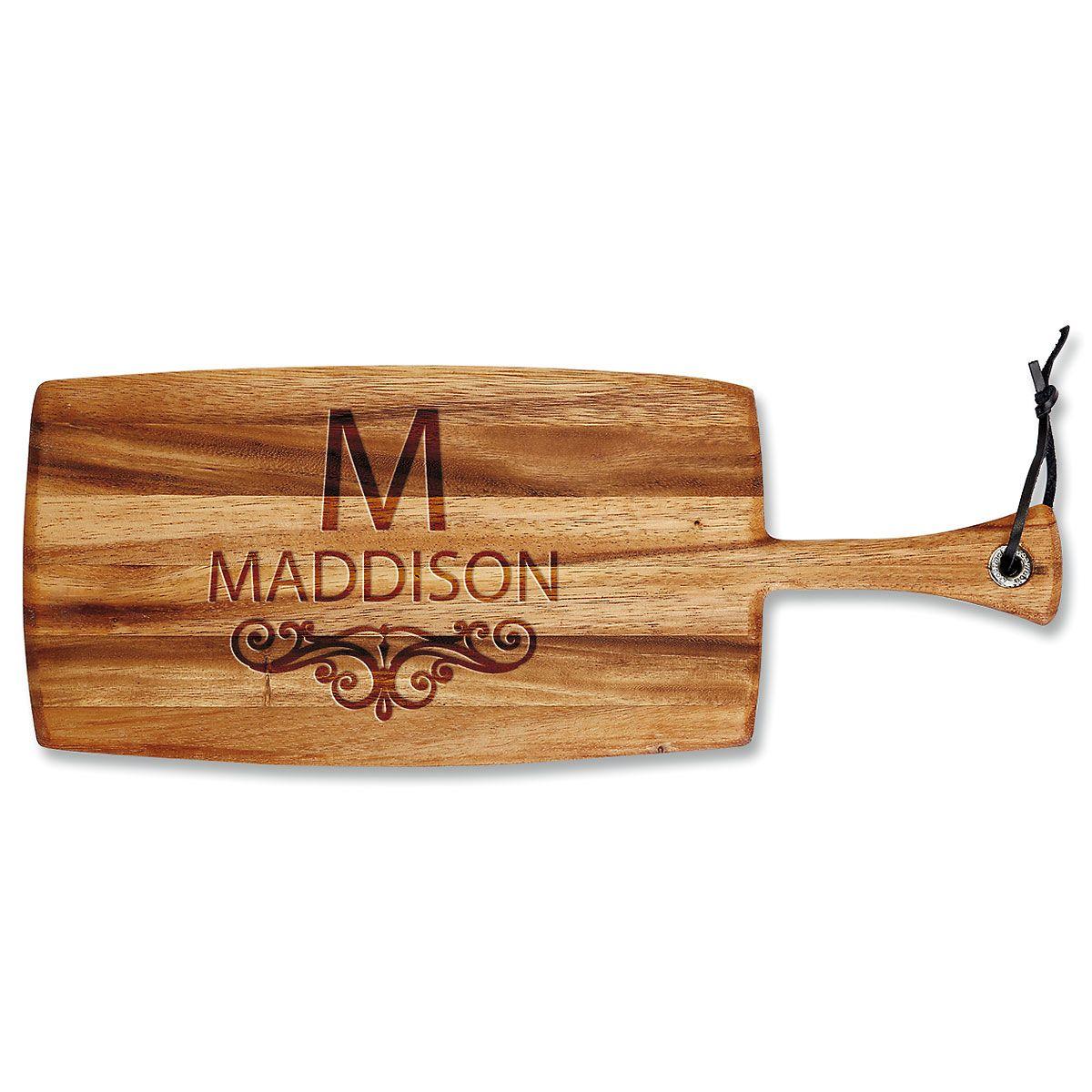 Last Name Scroll Engraved Acacia Wood Paddle Cutting Board