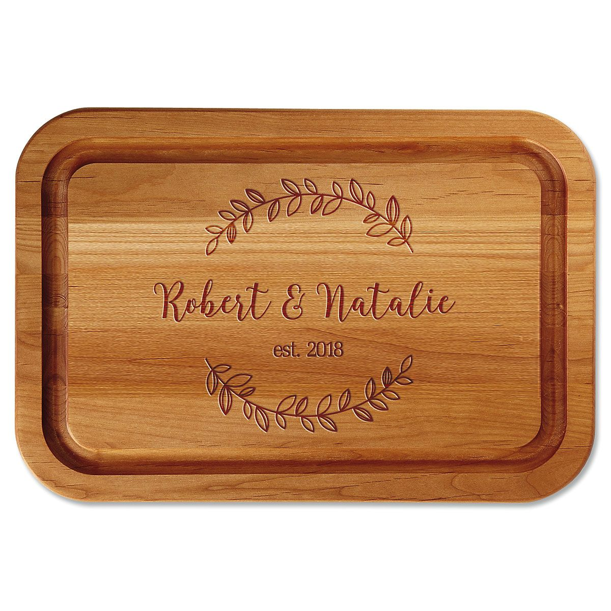 Wreath Engraved Alder Wood Cutting Board