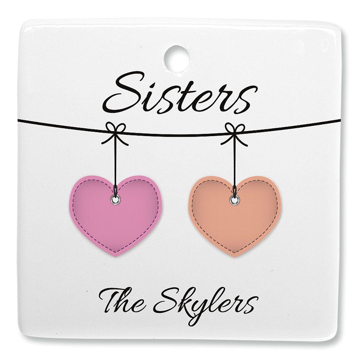 Sister Hearts Custom Square Ornament