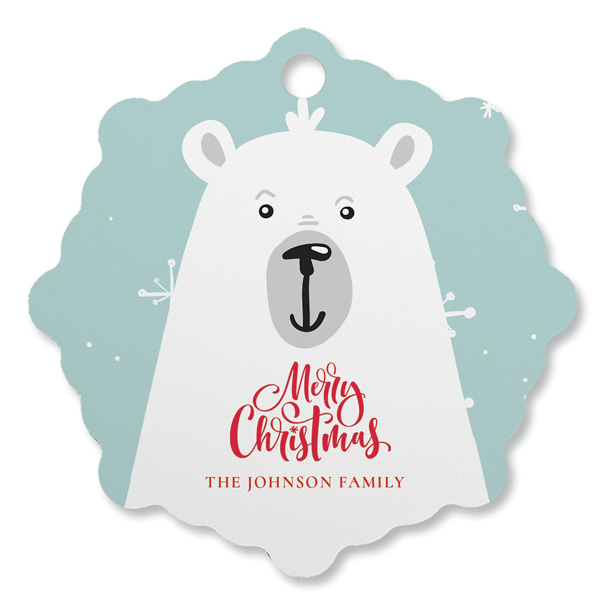 Polar Bear Custom Snowflake Ornament