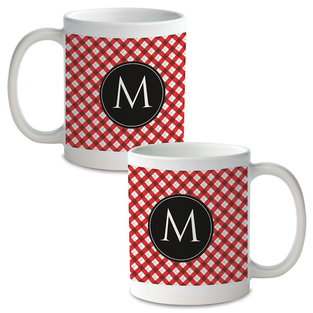 Plaid with Initial Custom Ceramic Mug