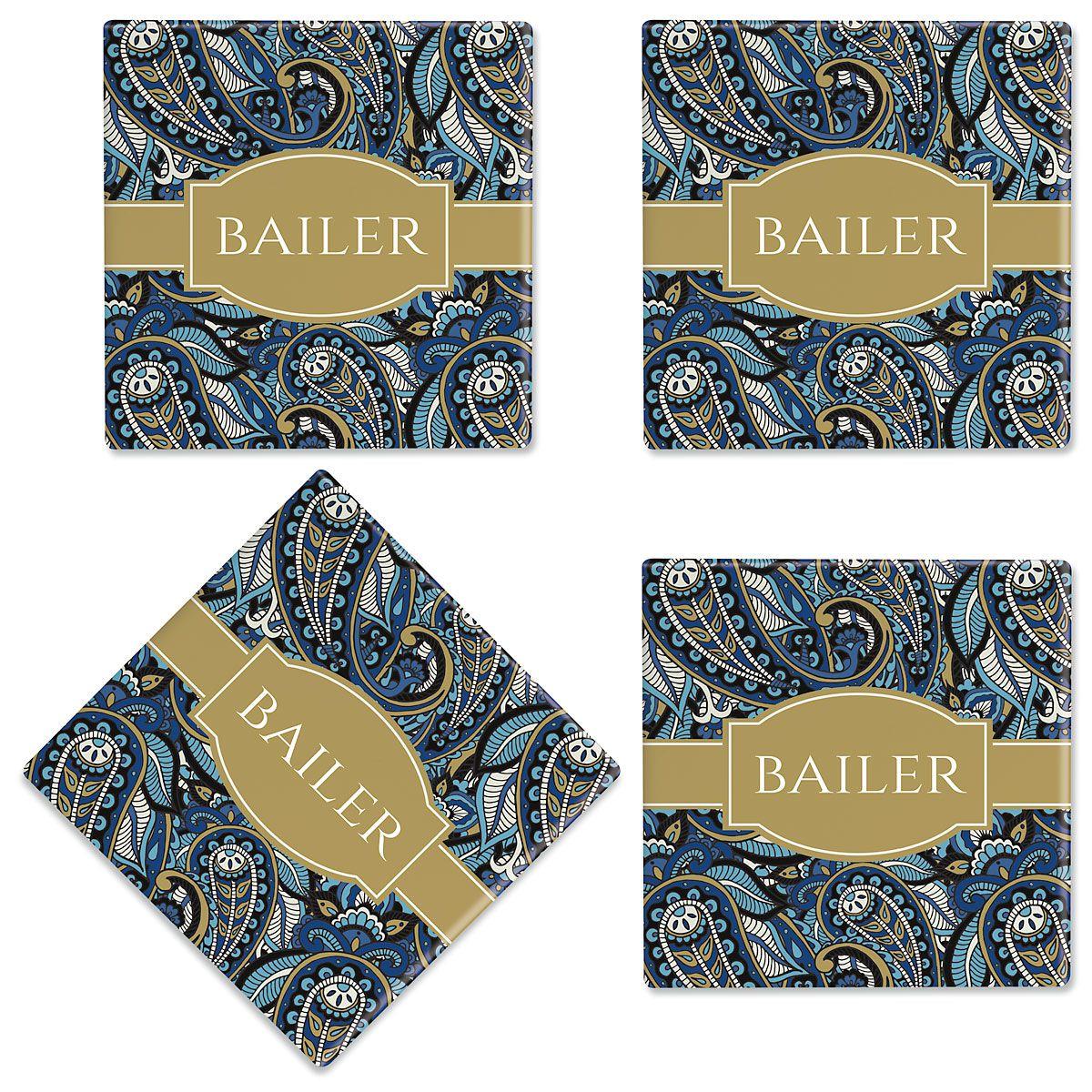 Paisley Customized Ceramic Coasters