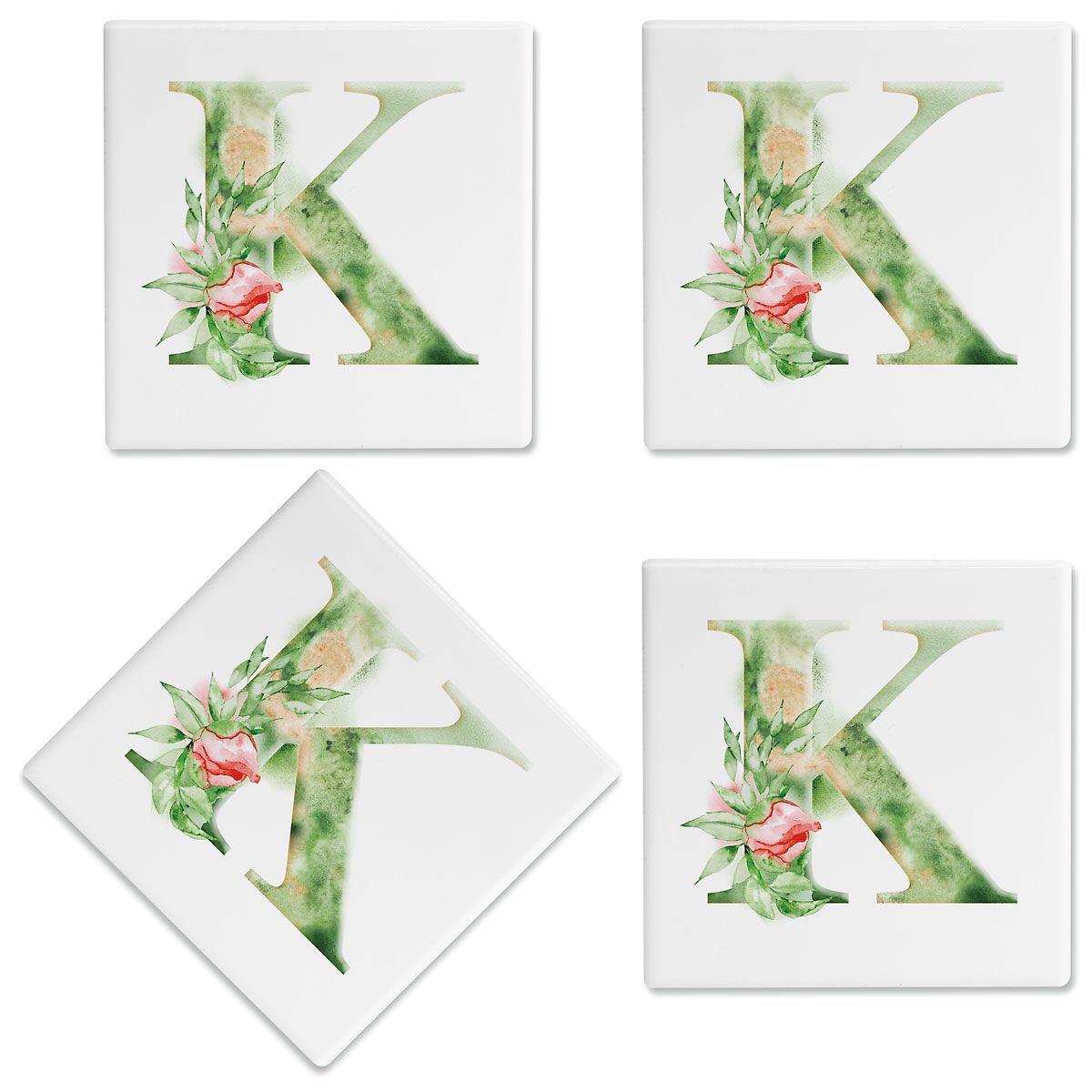 Watercolor Initial Customized Ceramic Coasters