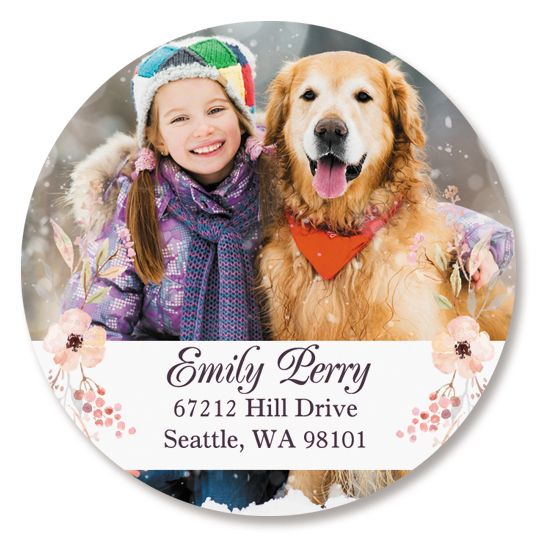 Floral Round Photo Custom Address Labels