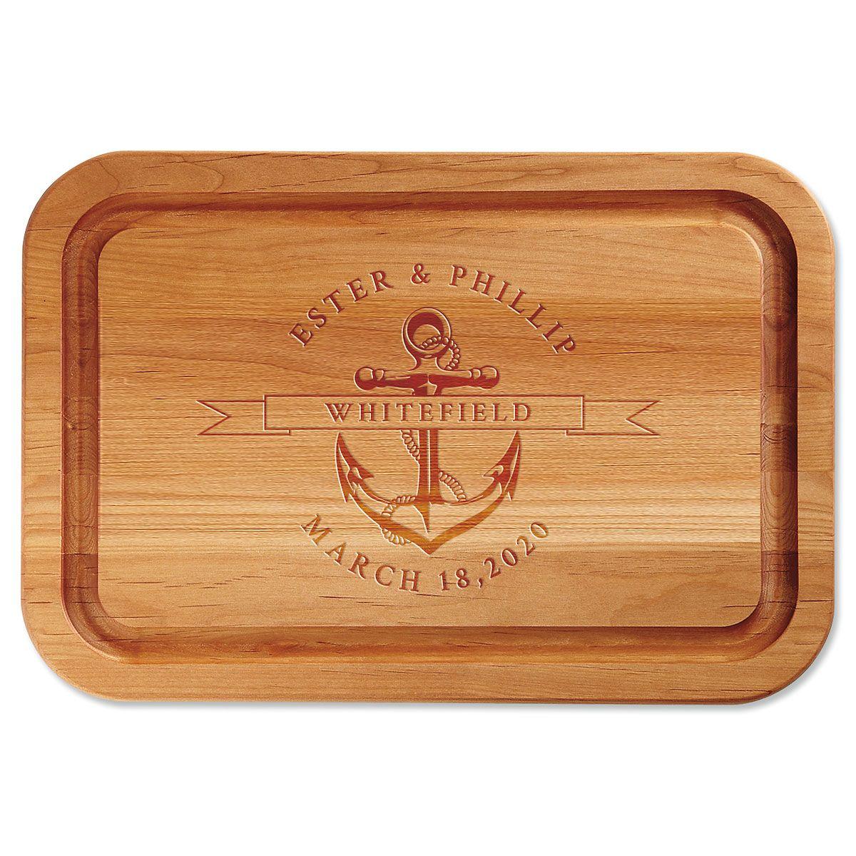 Anchor Engraved Alder Wood Cutting Board