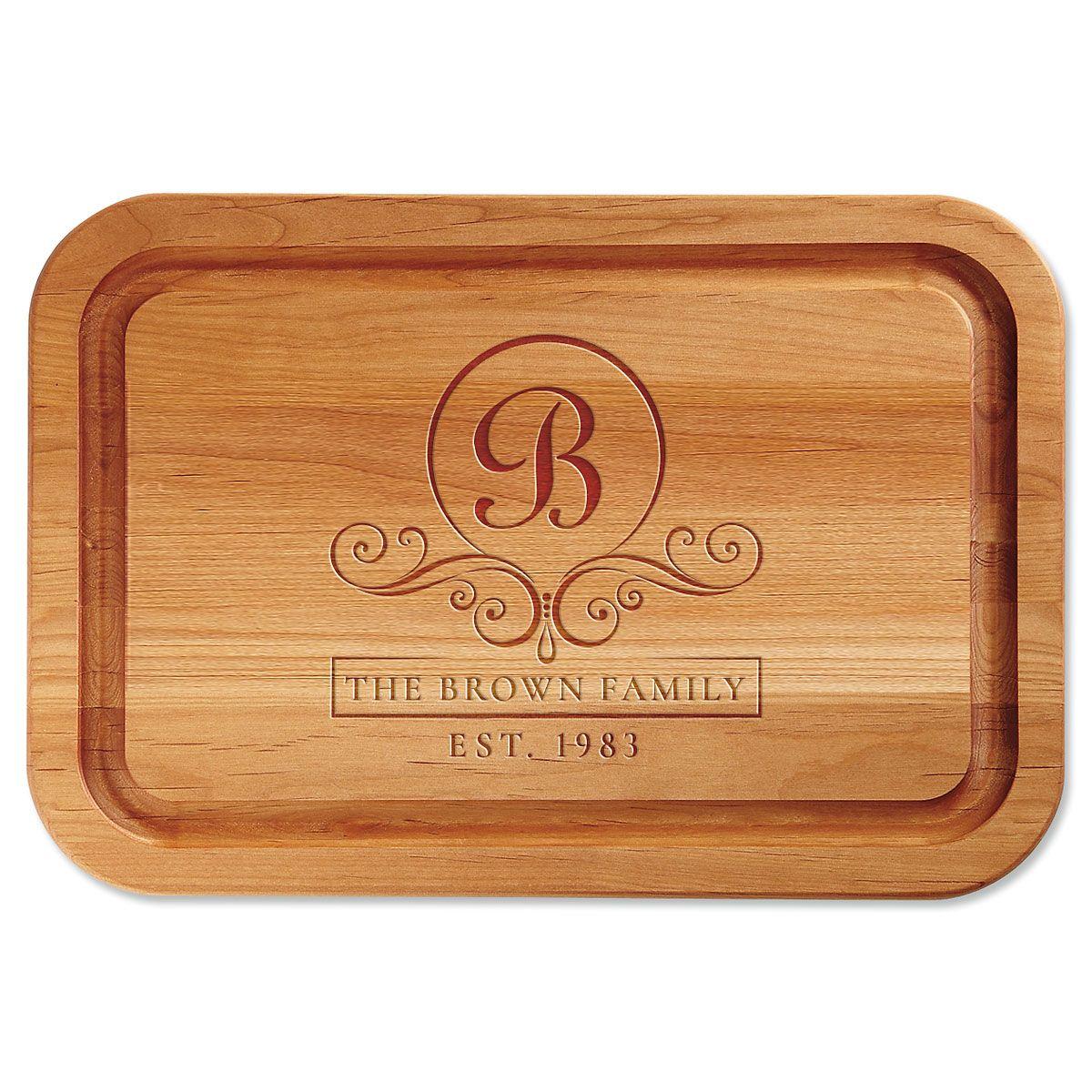 Flourish Scroll Engraved Alder Wood Cutting Board