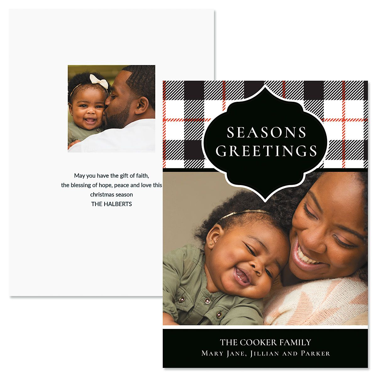 Buffalo Check Personalized Photo Christmas Cards