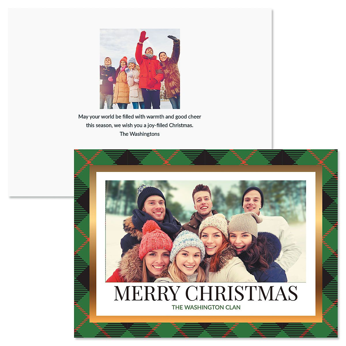 Personalized Christmas Cards.Green Buffalo Check Personalized Photo Christmas Cards