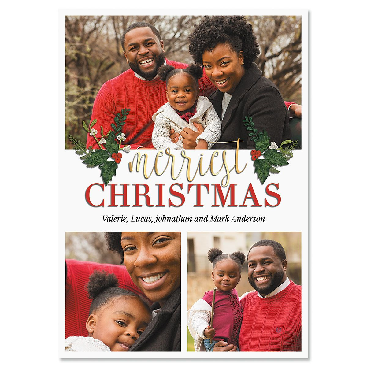 3 Greetings Personalized Photo Christmas Cards