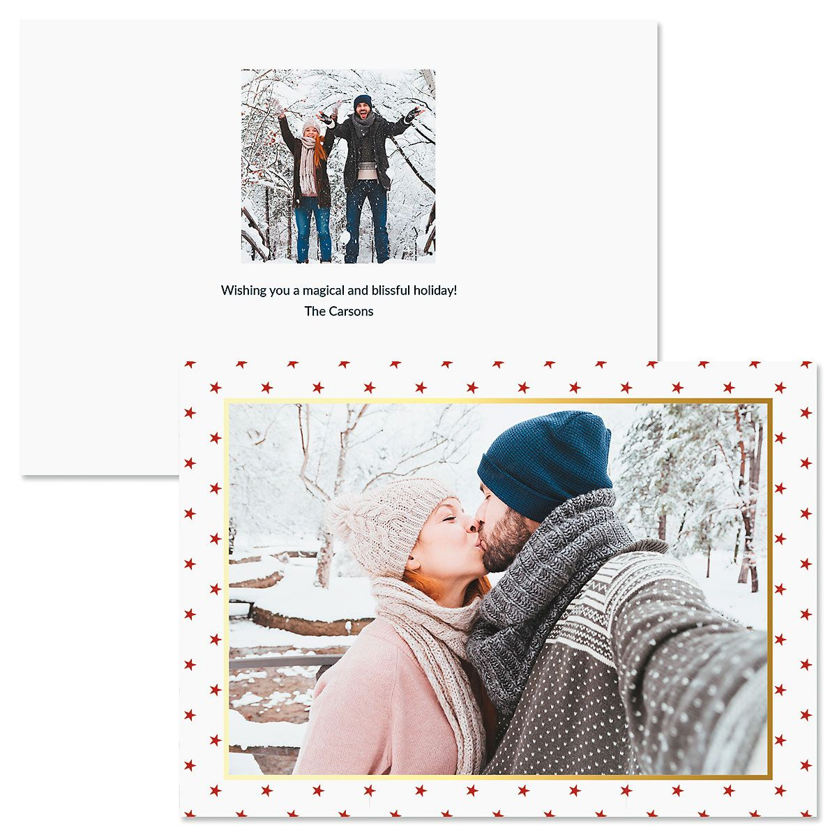 Red Stars Personalized Photo Christmas Cards
