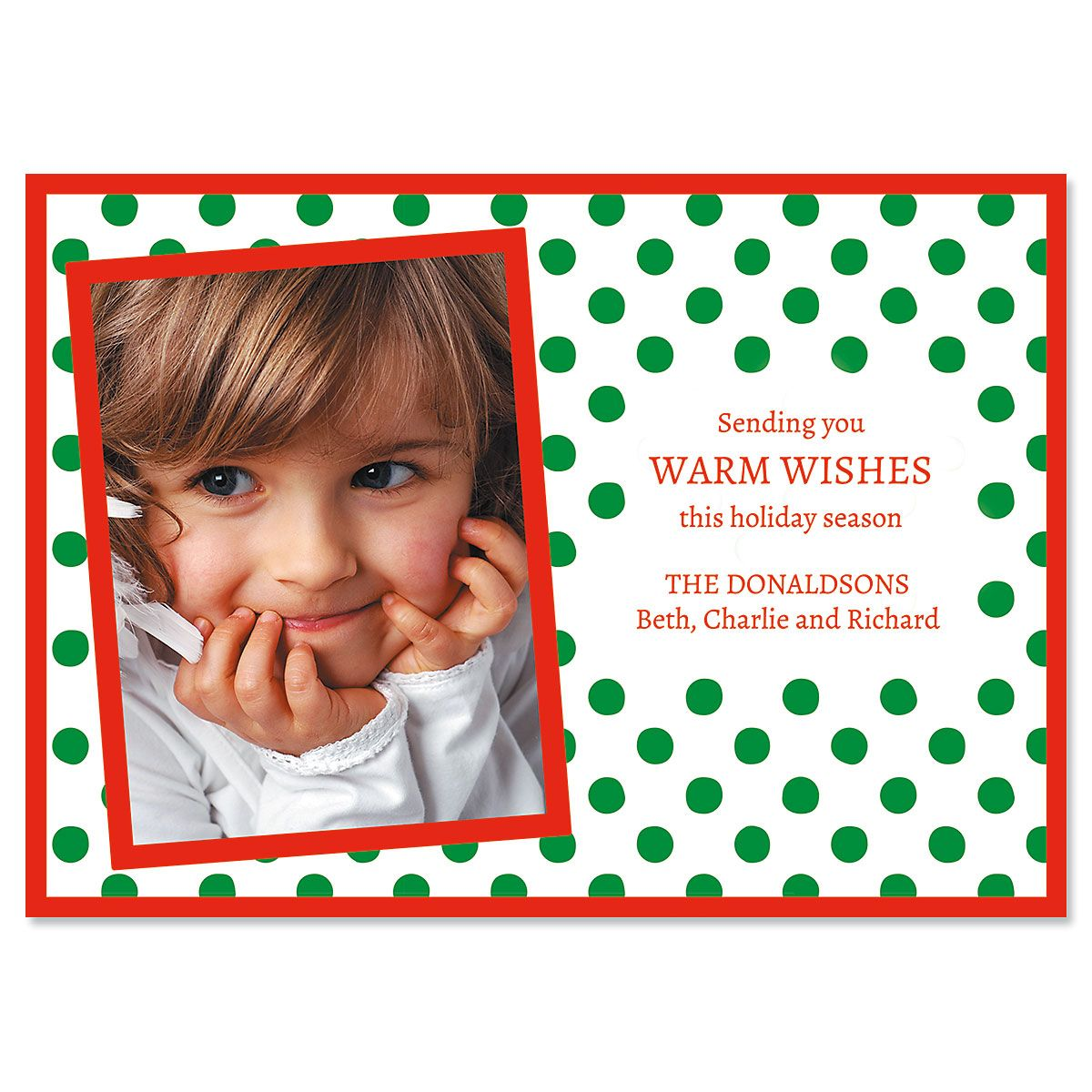 Green Polka Dot Personalized Photo Christmas Cards