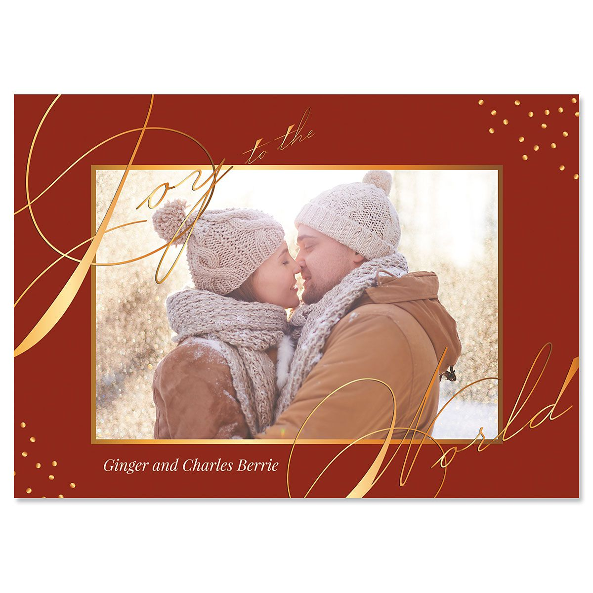 Red Joy Personalized Photo Christmas Cards