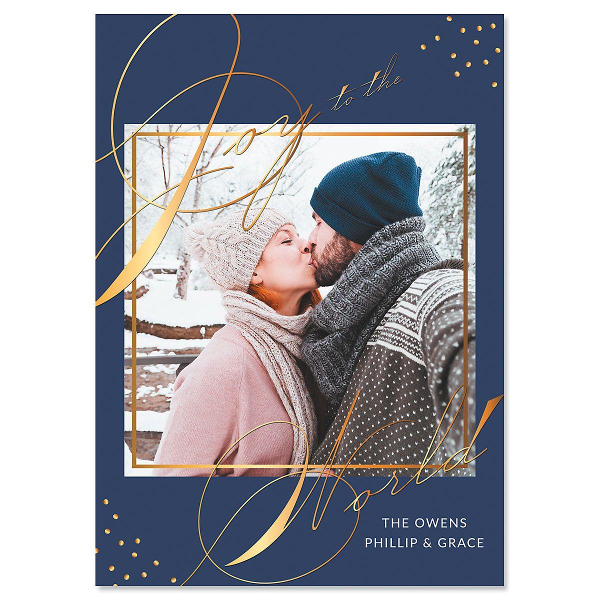 Blue Joy Personalized Photo Christmas Cards