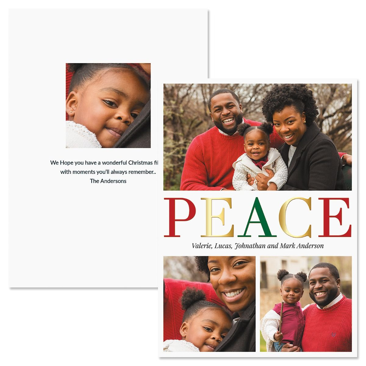 Peace Vertical Personalized Photo Christmas Cards