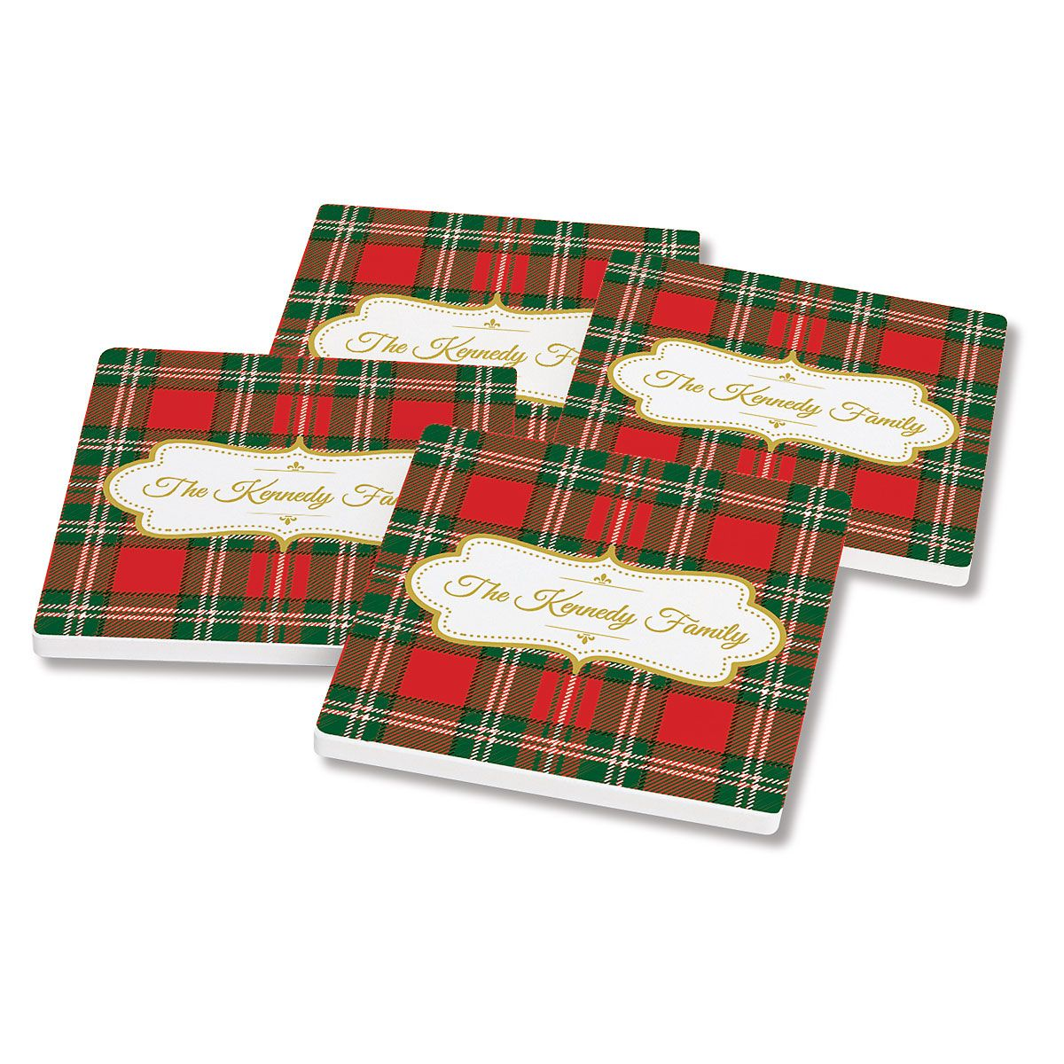 Personalized Green-Red Tartan Plaid Coasters