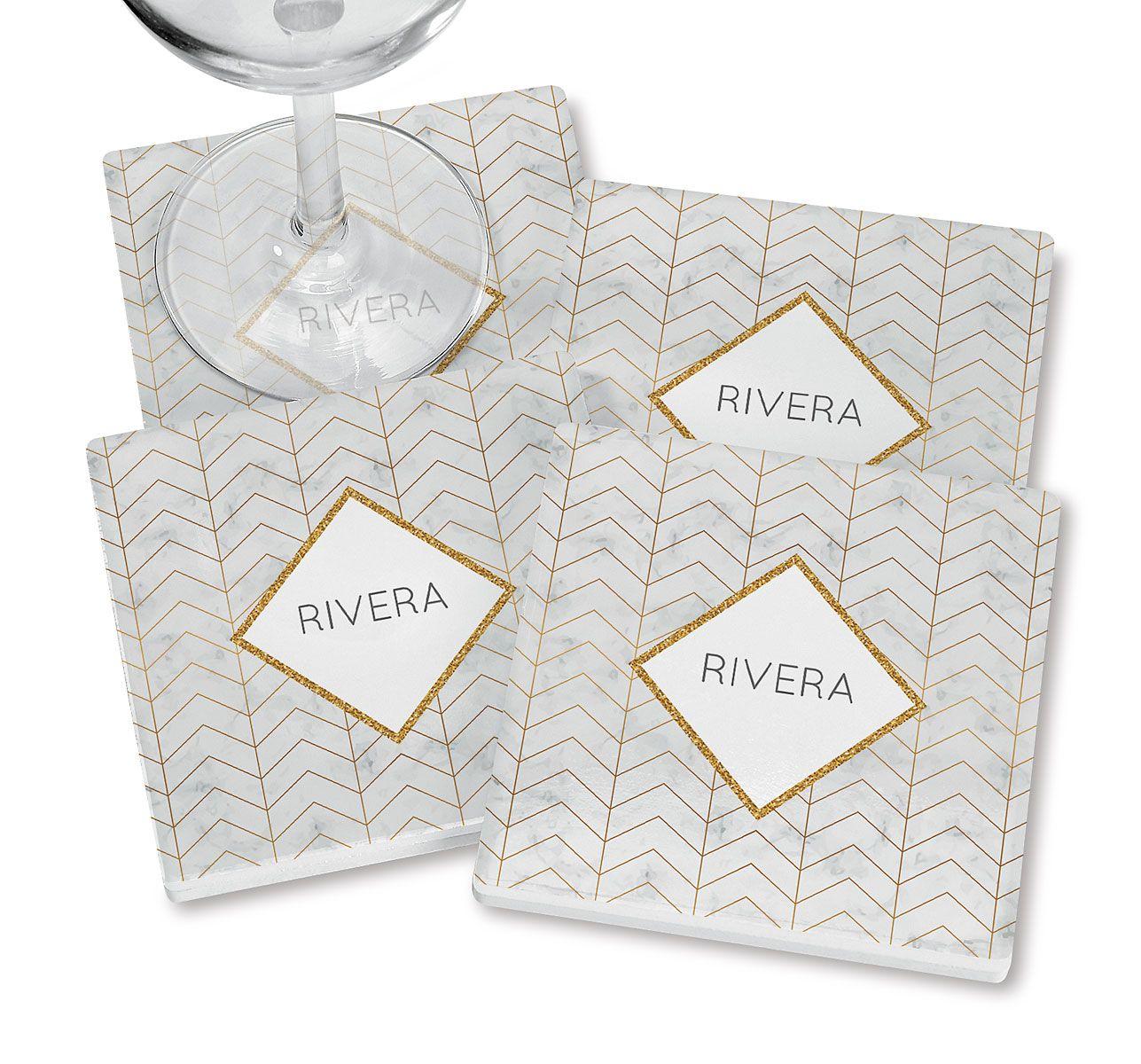 Personalized Sunday Chevron Coasters