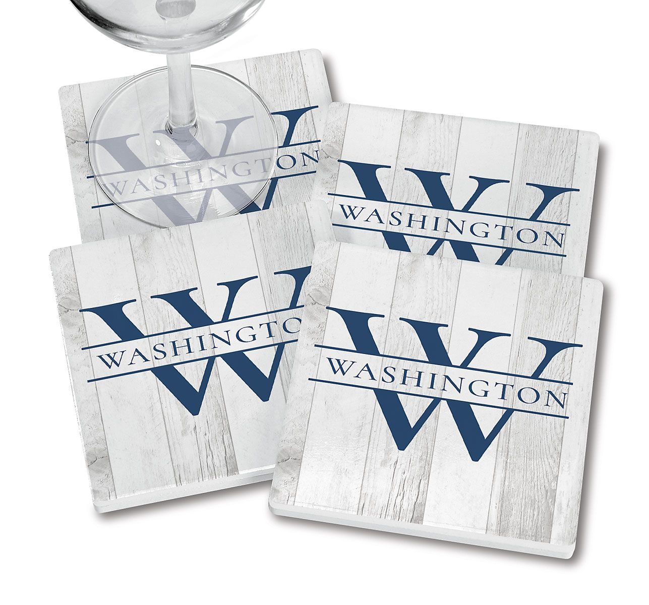 Personalized Whitewashed Woodgrain Coasters