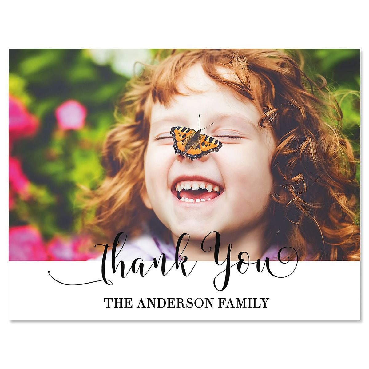 Cheerful Thank You Horizontal Photo Note Cards