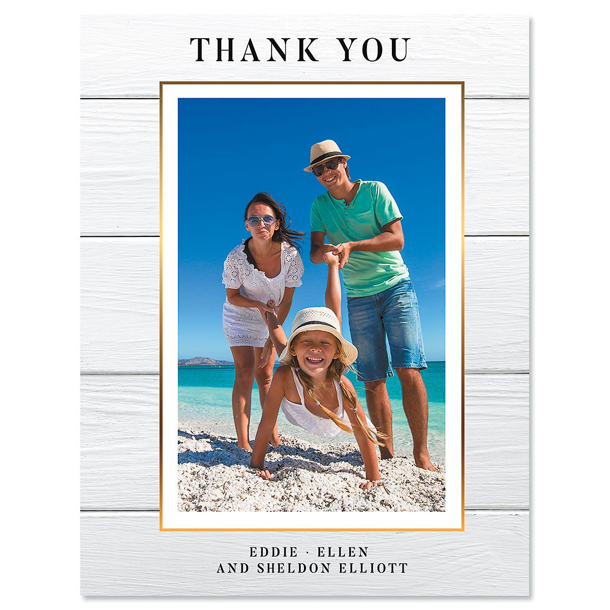 Shiplap Thank You Vertical Photo Note Cards