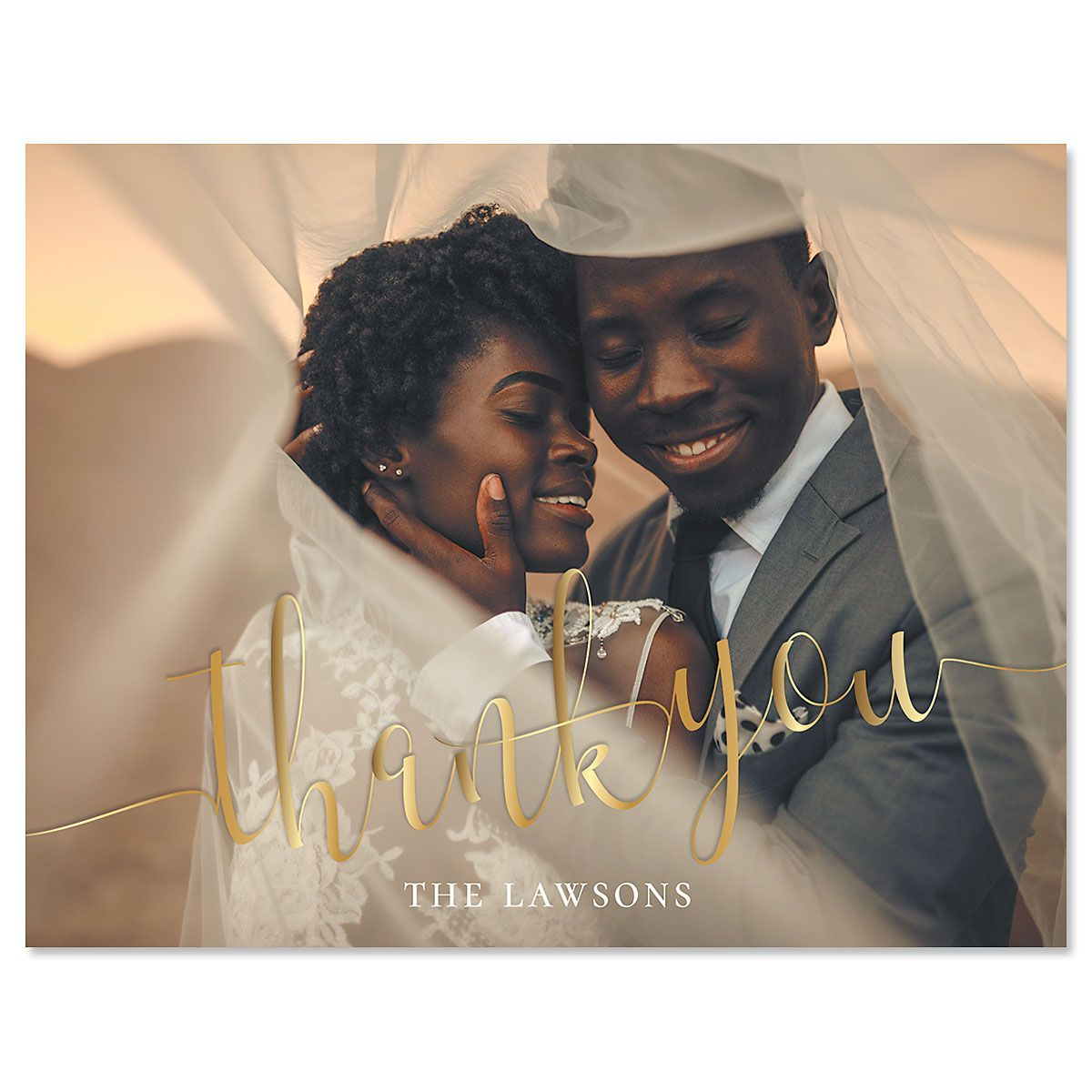 Golden Horizontal Photo Note Cards
