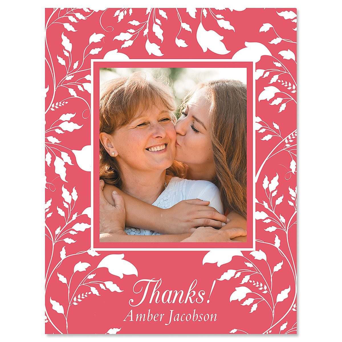 Floral Thank You Vertical Photo Note Cards