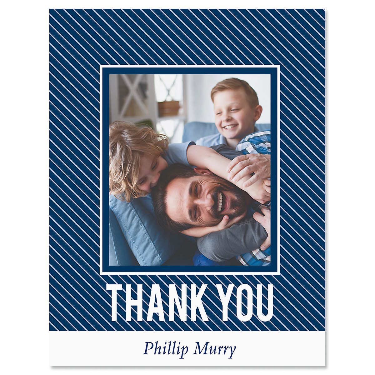 Vertical Stripe Thank You Photo Note Cards